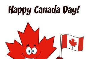 Leaf Holding An Canadian Flag