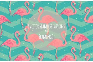 Flamingo patterns set