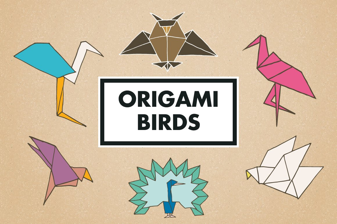 35off Origami Watercolor Design Set Graphic Objects Creative Market Another Wedding 3d Gift Diagram Below Birds Clipart And Logos