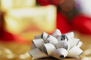 Presents and Lit Christmas Tree