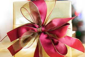 Elegantly wrapped Christmas gift