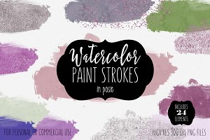 Watercolor Paint Blobs in Posie