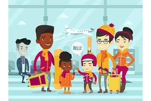 Multiethnic tourists standing in airport in winter