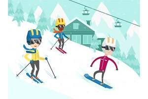 Multicultural people skiing and snowboarding.