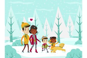 Multiethnic family walking in winter snowy forest.