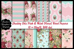 Shabby Chic Pink/Mint Floral Wood