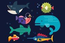 Sea life. Big fish: whale, shark, sw