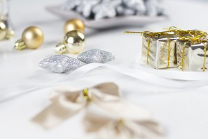 Christmas decoration on white table
