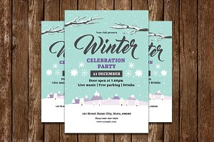 Winter Party Flyer Template-V694