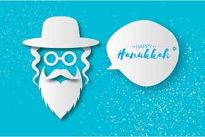 Origami Jewish men in the traditional clothing. Ortodox Jew hat,mustache, glasses, sidelocks and beard. Man concept. Paper cut style. Speech bubble for text. Happy Hannukah. Vector