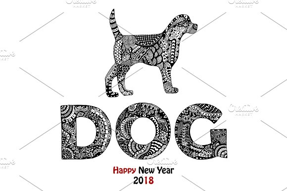 Animal And Dog Text Handdrawn Card