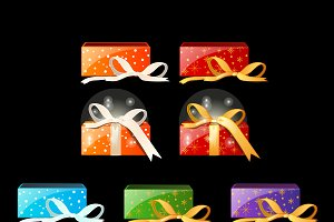 Set of boxes with gifts. Vector