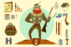 Hunter arsenal: beard, ax, gun