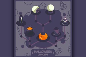 Halloween color isometric concept