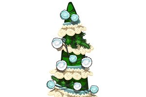 Christmas tree with garlands. Vector