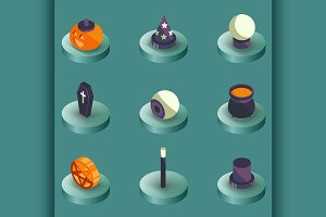 Halloween color isometric icons