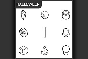 Halloween outline isometric icons