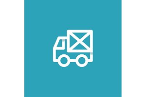 Truck mail in an envelope linear style on a blue background, flat design