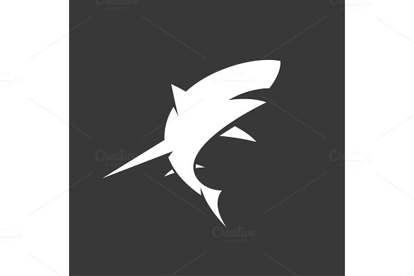 Black and White Shark logo with minimalism vector illustration of marine animals