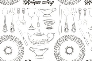 antique silver cutlery set pattern