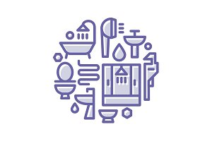 Icons plumbing, shower, toilet, bathtub, sink in a linear style flat lustration