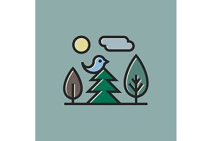 Nature birds sitting on tree sun and clouds, trees in a linear outline style Modern flat design icons Set