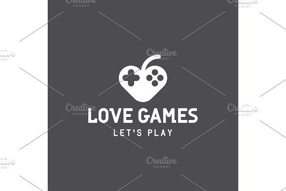 Joystick Like Heart And Abstract Apple Logo Stylish Modern Illustrations Minimalism In Monochrome