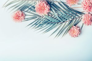 Palm leaves and flowers,pastel color