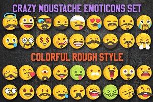 Funny Moustache Emoji Set