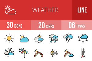 30 Weather Line Icons