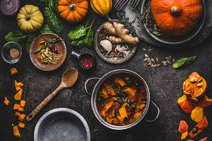 Vegan pumpkin dishes cooking