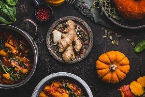 Vegan pumpkin stew dish with spinach
