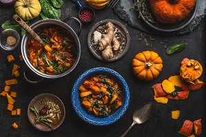 Healthy seasonal food with pumpkin