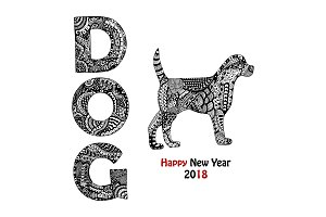 Handdrawn dog text and animal