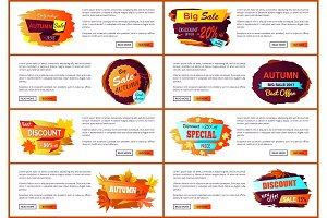 Autumn Sale Posters Set Promo Advertising Labels