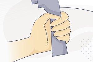 Hand holding a loudspeaker