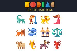 Flat zodiac signs, astrology.