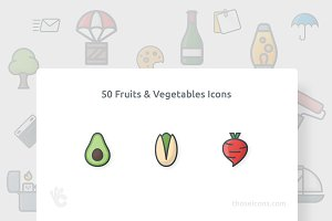 50 Fruits & Vegetables Color Icon