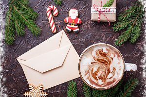 Christmas background with latte and letters