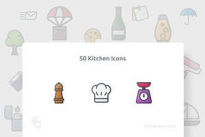 50 Kitchen Vector Outline Color Icon