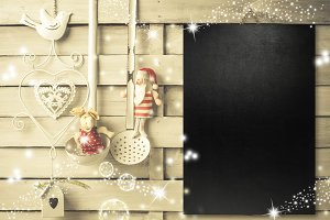 Christmas menu blackboard.