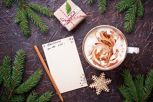Christmas to do list and cup of latte