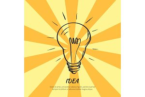Symbol of Idea Electric Bulb Sketch with Light