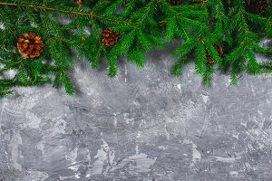 Spruce New Year branches with cones on top of a gray concrete background. New Year Christmas. Free space for text.