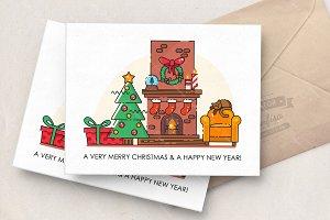 Flat line Christmas card