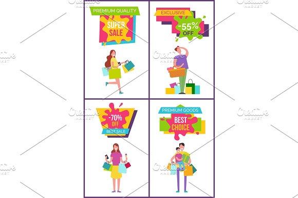 Premium Quality and Goods Vector Illustration