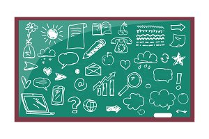 Blackboard with Drawn Images Vector Illustration