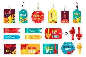 Autumn Special Sale Tags Icon Vector Illustration