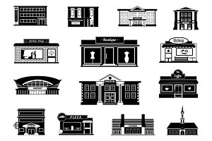 Shops, markets and others municipal buildings. Monochrome urban vector illustrations