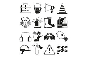 Safety work, security symbols. Vector monochrome illustrations